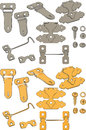 The complete set of latches big hooks and bolts Stock Photos
