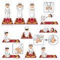 Complete Set of Muslim Prayer Position Guide Step by Step Perform by Boy Royalty Free Stock Photo