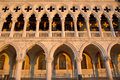 Complete view of Dodge Palace details and yellow shadows, Venice Italy