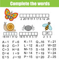 Complete the words children educational game. Insects, animals theme, learning numbers