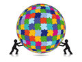 Completed spherical jigsaw puzzle two silhouetted people supporting a colorful on a white background Stock Image