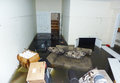 Completely flooded basement next day after hurricane sandy in staten island ny october on october it is visible line Royalty Free Stock Photos