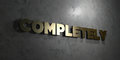 Completely - Gold text on black background - 3D rendered royalty free stock picture