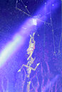Complex aerial acrobatics with spotlight swing of xiamen lingling circus amoy city china Stock Images