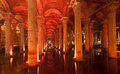 The complex of columns and water underground basilica cistern with a red light istanbul turkey Royalty Free Stock Photo