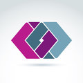 Complex geometric corporate element vector abstract colorful fi figures created from separate parts intersecting rhombs Royalty Free Stock Photos