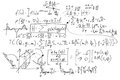 Complex math formulas on whiteboard. Mathematics and science with economics Royalty Free Stock Photo