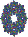 Complex wreath in red white blue and green a shape with an eight point star the center eight additional stars evenly Stock Photos