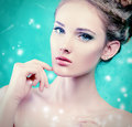 Complexion beautiful young woman with fresh pure skin healthcare spring Stock Photography