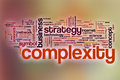 Complexity word cloud with abstract background concept Stock Photo