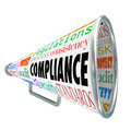 Compliance Bullhorn Megaphone Legal Process Guidelines Rules Law Stock Images