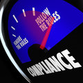 Compliance gauge measuring following rules compliant a fuel with needle pointing to follow the to illustrate being with Royalty Free Stock Photo