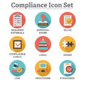 In compliance - icon set showing a company passed inspection