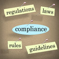 Compliance rules regulations laws guidelines bulletin board word pinned to a with related words like and to stress the importance Stock Photo