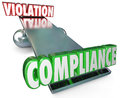 Compliance Vs Violation See-Saw Balance Following Rules Laws Royalty Free Stock Images