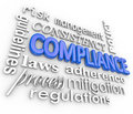 Compliance word background legal regulations adherence the in blue d letters surrounded by related terms such as risk management Stock Photography