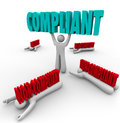 Compliant vs non compliance one person follows rules lifts the word and others are crushed by as the winner and regulations and Royalty Free Stock Photos