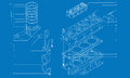 Complicated machinery technical drawing Royalty Free Stock Photography