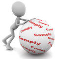 Comply or compliance concept little man rolling a ball with words written on it Stock Image