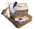 Composición del libro viejo de letras envejecidas y de instrumentos de escritura aislados Foto de archivo libre de regalías