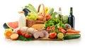 Composición con la variedad de productos de la tienda de comestibles Foto de archivo