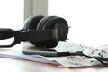 Composing music concept with shallow dof evenly matched jack of headphone and copy space Royalty Free Stock Photos