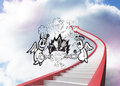 Composite image of angel and devil doodle against red staircase arrow pointing up against sky Royalty Free Stock Photo