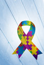 Composite image of autism awareness ribbon Royalty Free Stock Photo