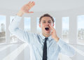 Composite image of businessman shouting and waving Royalty Free Stock Photos