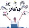 Zložený obraz z podnikateľka oslavuje veľký úspech