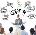 Zložený obraz z podnikateľka robiť reč počas
