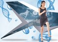Composite image of businesswoman stepping up against blue chromosomes on blue background Stock Photo