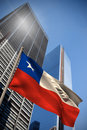 Composite image of chile national flag against low angle view skyscrapers Stock Photos