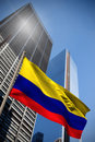 Composite image of colombia national flag against low angle view skyscrapers Royalty Free Stock Photo