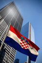 Composite image of croatia national flag against low angle view skyscrapers Royalty Free Stock Photos