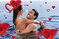 Composite image of cute couple cuddling each other against love heart pattern Royalty Free Stock Photos