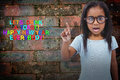 Composite image of cute girl shaking finger saying no to the camera Royalty Free Stock Photo