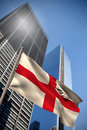 Composite image of england national flag against low angle view skyscrapers Stock Photos