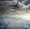 Composite image of flying airplane Royalty Free Stock Photography