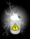 Composite image of a food can half opened containing light and electricity and displaying a yellow high voltage symbol on the Royalty Free Stock Photo