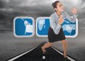 Composite image of furious businesswoman gesturing against highway through stormy landscape Stock Photography