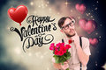 Composite image of geeky hipster offering bunch of roses Royalty Free Stock Photo