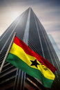 Composite image of ghana national flag against low angle view skyscraper Stock Photography