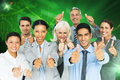 Composite image of happy business people with thumbs up looking at camera against stocks and shares Royalty Free Stock Photography