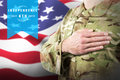 Composite image of mid section of soldier in uniform taking oath Royalty Free Stock Photo