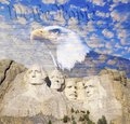 Composite image of Mount Rushmore, bald eagle, U.S. Constitution, and blue sky with white clouds Royalty Free Stock Photo