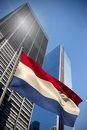 Composite image of netherlands national flag against low angle view skyscrapers Royalty Free Stock Image