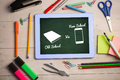 Composite image of old school vs new school against green chalkboard Royalty Free Stock Photo