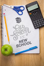 Composite image of old school vs new school against students table with supplies Stock Images