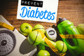 Composite image of prevent diabetes against indicators healthy lifestyle Stock Photography